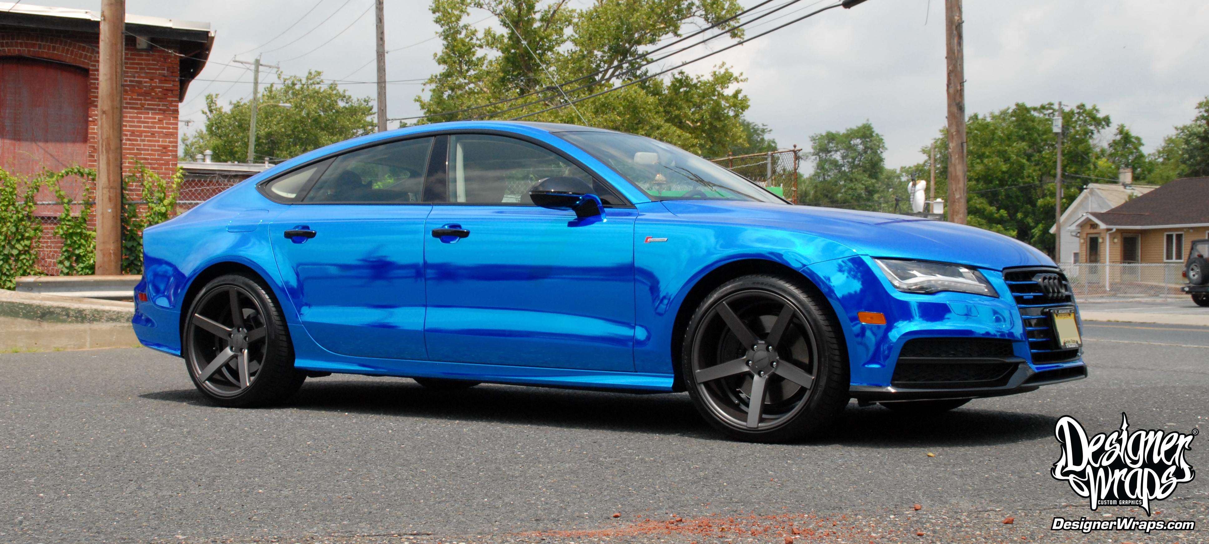 audi a7 2014 custom. designer wraps chrome blue audi a7 2014 custom g