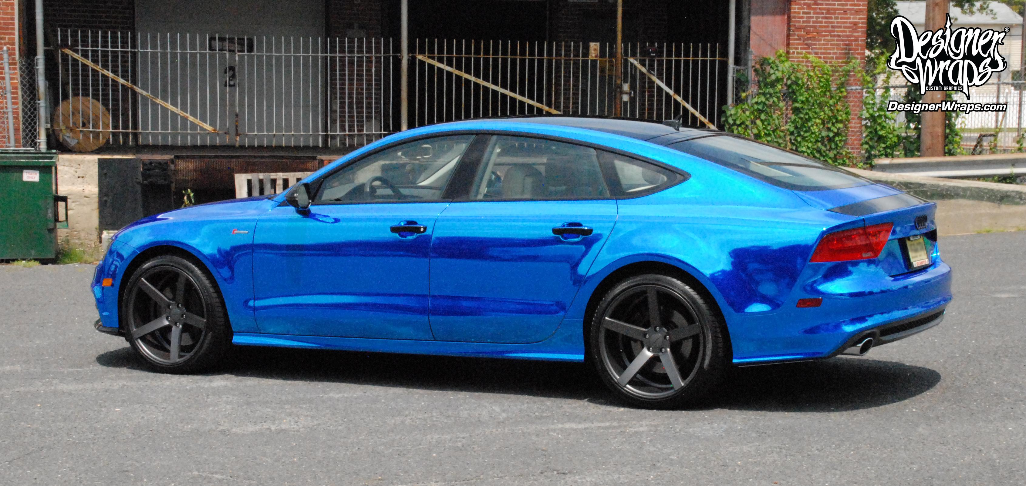 Designer Wraps Custom Vehicle Wraps Fleet Wraps Color Changes Philadelphia Wraps South Jersey Wraps Chrome Blue Audi A7
